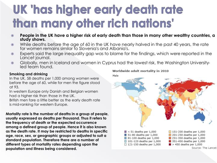 UK 'has higher early death rate than many other rich nations'