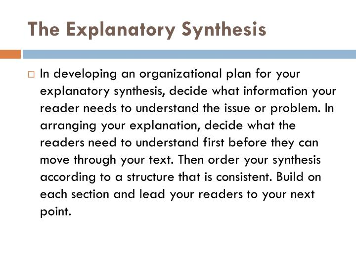 The Explanatory Synthesis