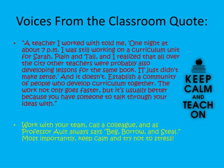 Voices From the Classroom Quote: