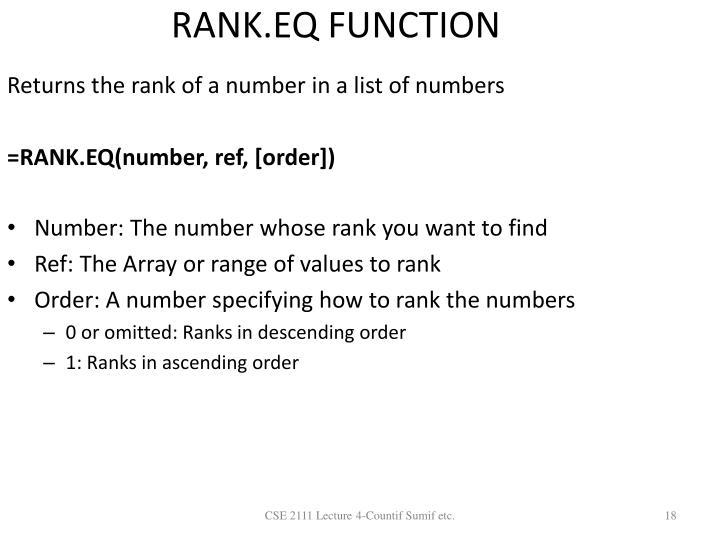 RANK.EQ FUNCTION