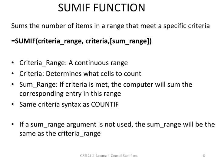 SUMIF FUNCTION