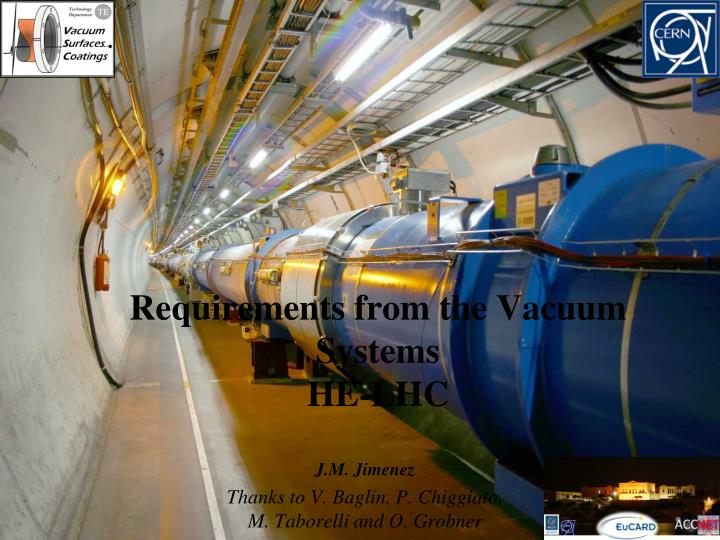 Requirements from the Vacuum Systems