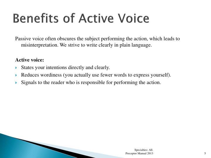 Benefits of Active Voice