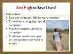 aim high to save lives