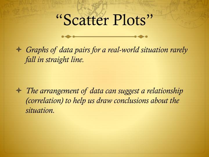 """Scatter Plots"""
