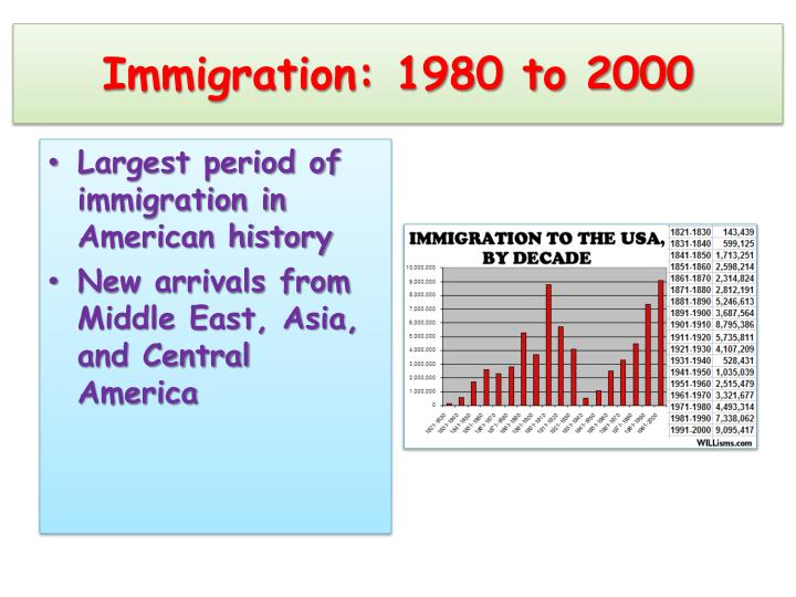 Immigration: 1980 to 2000