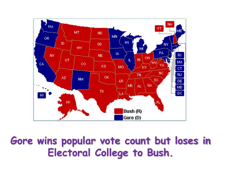 Gore wins popular vote count but loses in Electoral College to Bush.