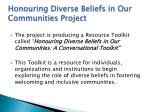 honouring diverse beliefs in our communities project1