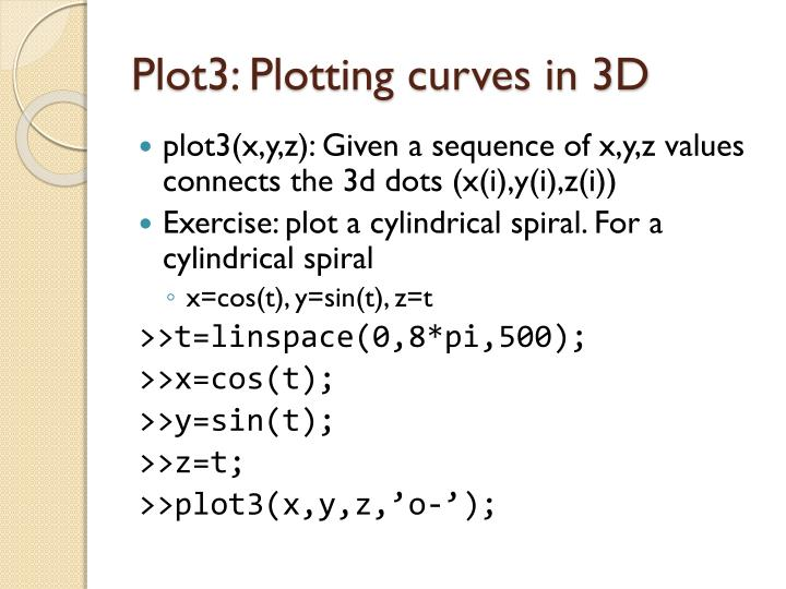 Plot3 plotting curves in 3d