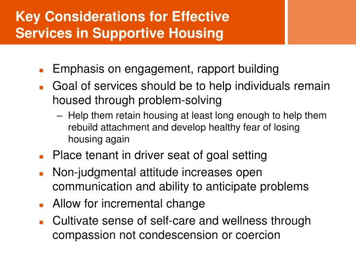 Key Considerations for Effective Services in Supportive Housing
