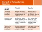 mismatch of various service modalities