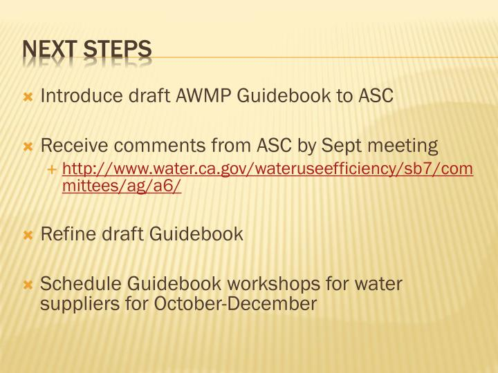 Introduce draft AWMP Guidebook to ASC