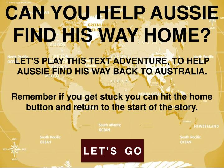 CAN YOU HELP AUSSIE FIND HIS WAY HOME?