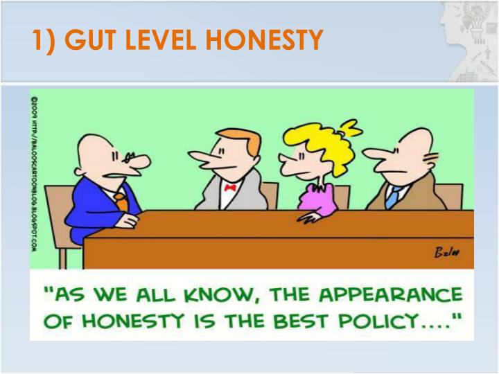 1) GUT LEVEL HONESTY