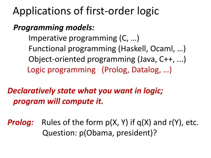 Applications of first-order logic
