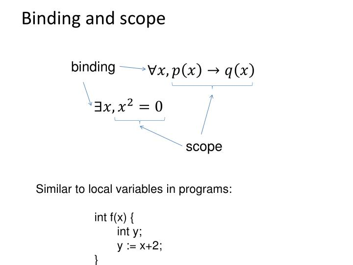 Binding and scope