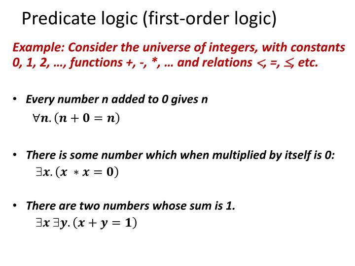 Predicate logic (first-order logic)