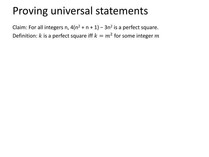 Proving universal statements