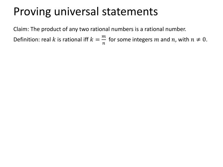 Proving universal statements