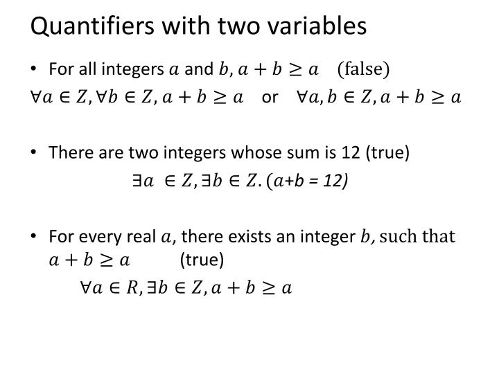 Quantifiers with two variables