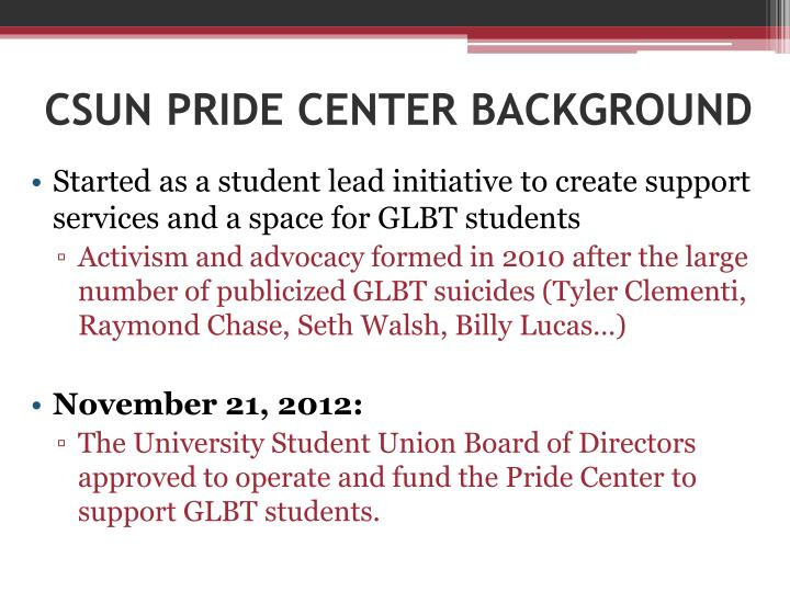 Csun pride center background