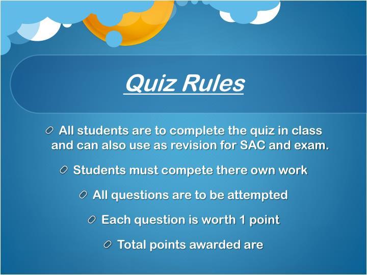 Quiz Rules