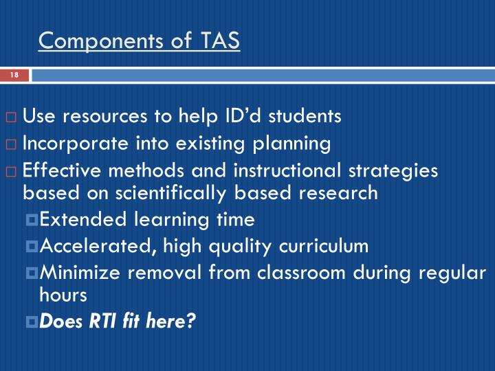 Components of TAS
