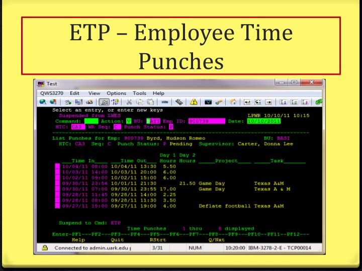 ETP – Employee Time Punches