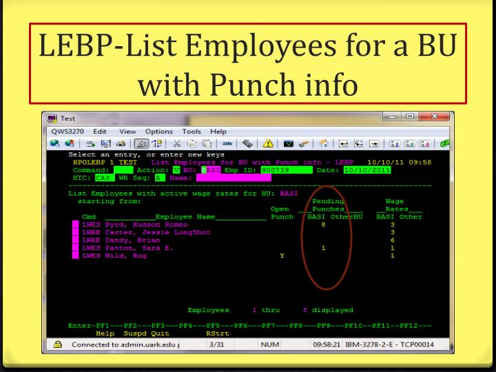 LEBP-List Employees for a BU with Punch info