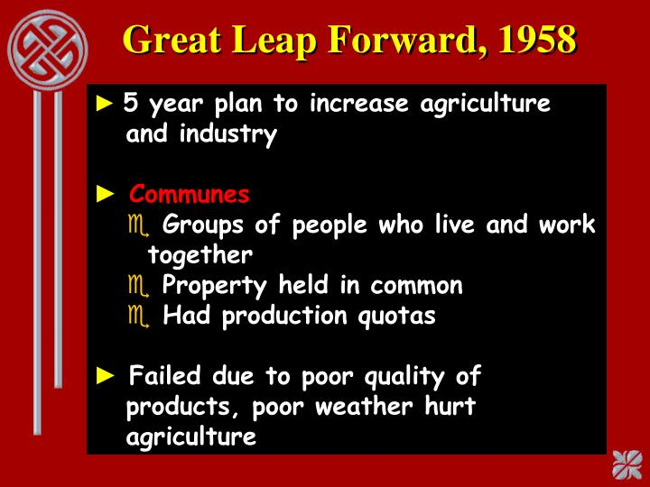 Great Leap Forward, 1958