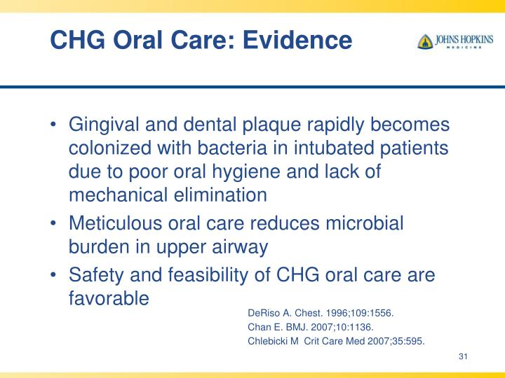 CHG Oral Care: Evidence