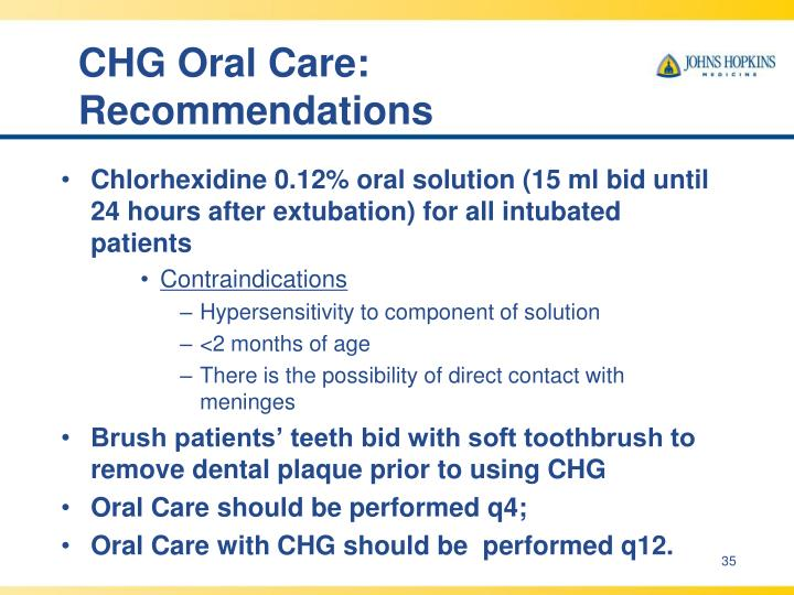 CHG Oral Care: Recommendations