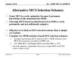 alternative mcs selection schemes