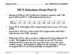 mcs selection from part i