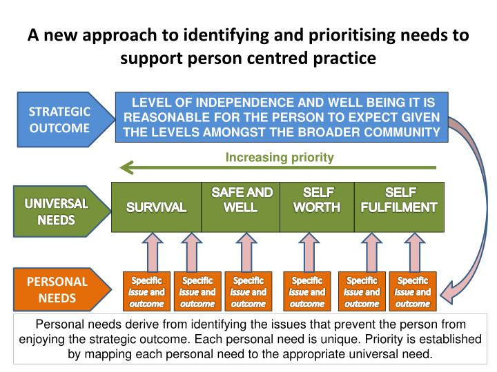 A new approach to identifying and prioritising needs to support person centred practice