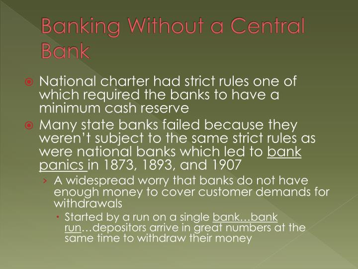 Banking Without a Central Bank