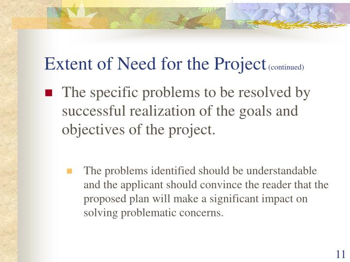 Extent of Need for the Project