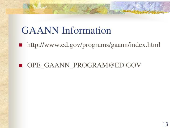GAANN Information