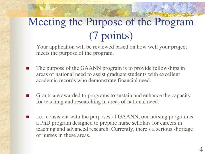 Meeting the Purpose of the Program (7 points)