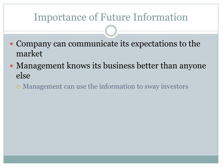 Importance of Future Information