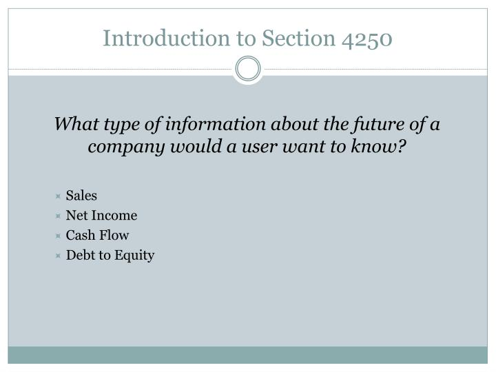 Introduction to Section 4250