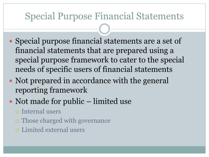 Special Purpose Financial Statements