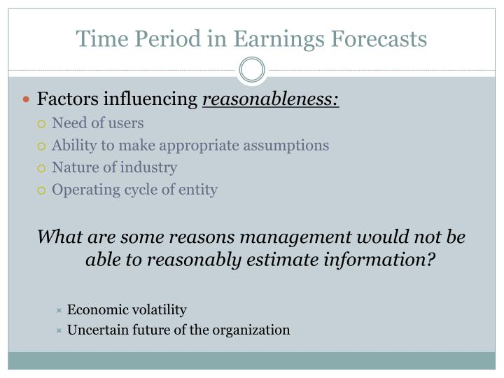Time Period in Earnings Forecasts