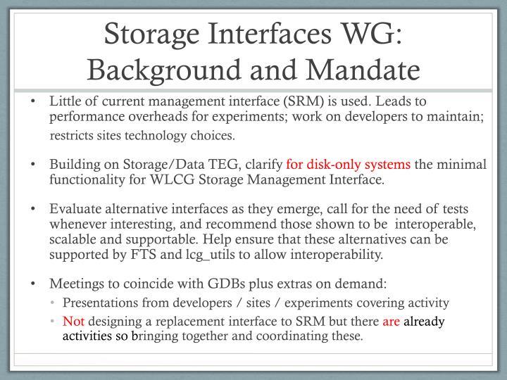 Storage Interfaces WG: