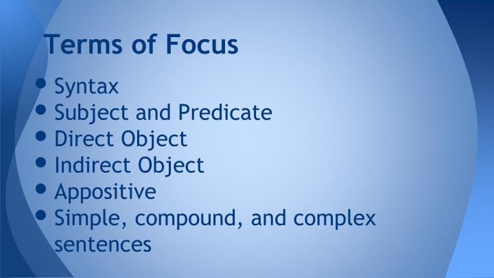 Terms of Focus