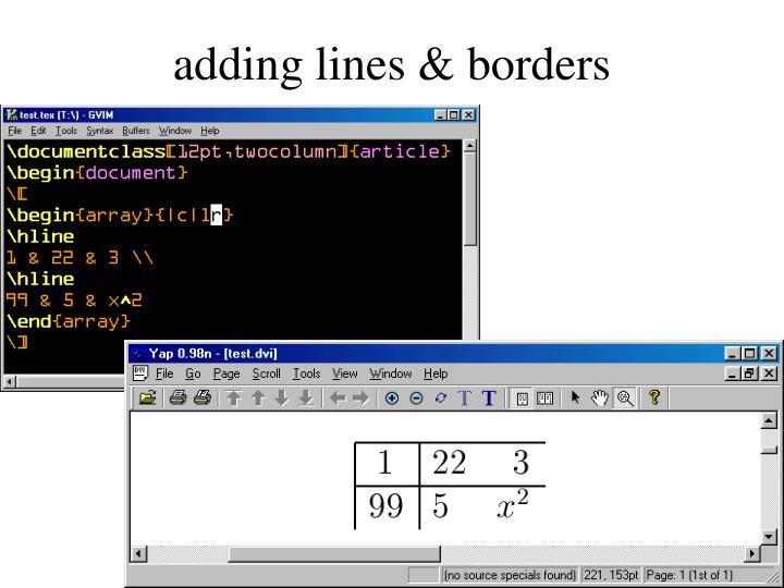 adding lines & borders