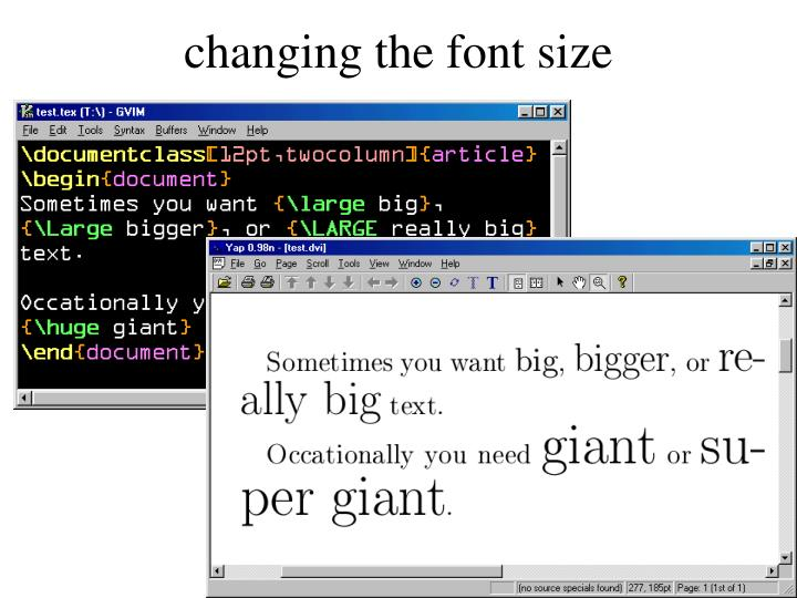 changing the font size
