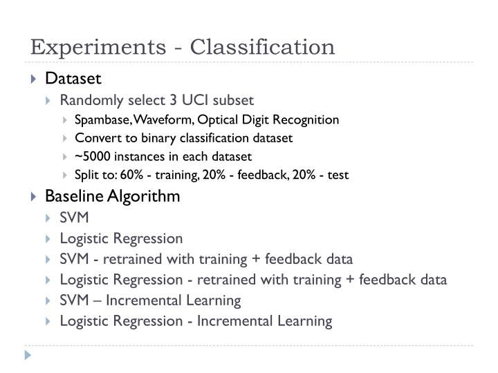 Experiments - Classification