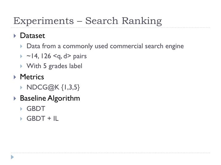 Experiments – Search Ranking