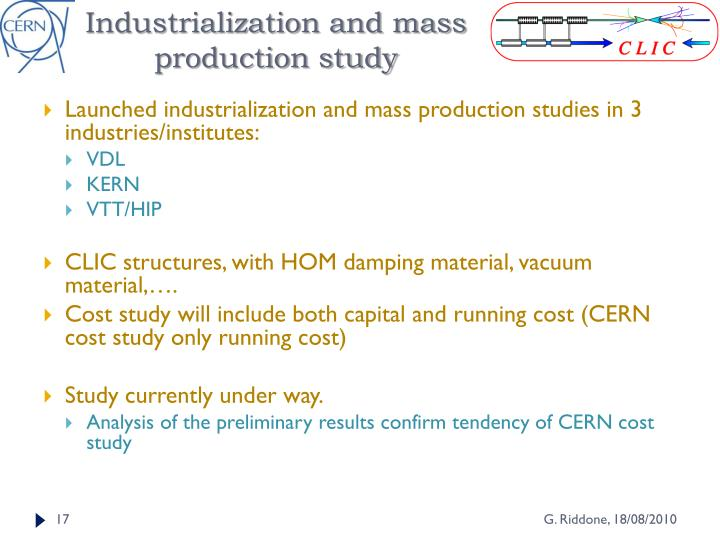 Industrialization and mass production study